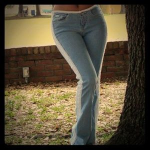 90's Vintage Revolt Flare Legs with Lace Jeans